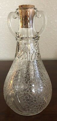 Antique Clear Crackle Glass Decanter Bottle w/ Cork Stopper, Handles. Immaculate