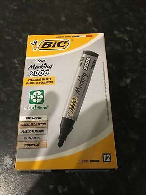 Bic 2000 Permanent Marker Black Bullet Tipped Pk12 Markers Office Supplies