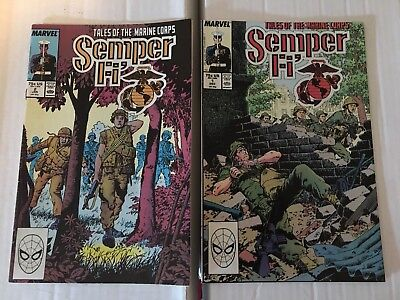 Semper Fi #1 & 2 FN Condition 1989 Marvel Comic Books Tales Of The Marine Corps