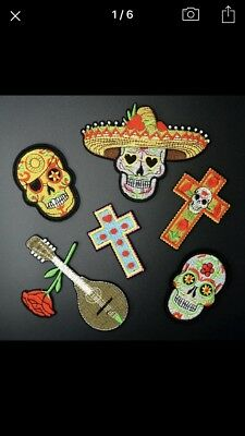 New Set Of 6 Job Lot Skull 💀 & Demon Themed Iron On Cloth Embroidered Patches