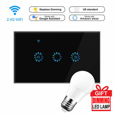 Smart E27 Bulb LED Light Dimmer US EU UK WiFi Wall Touch Dimming Panel Switch US