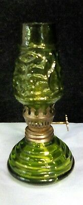 Antique Vintage Miniature Primitive Green Glass Kerosene Oil Lamp