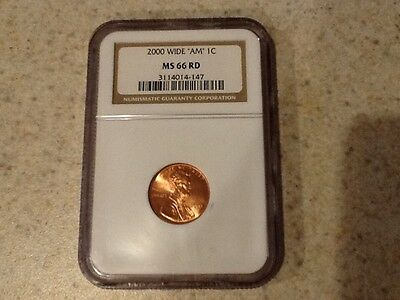 2000 NGC MS66RD Lincoln WIDE AM one cent