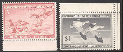 1946 RW13 & 1947 RW14 Federal Duck Hunting Stamps MNH w selvage