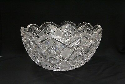 MM RARE Antique ABP Pinwheel Cut Crystal Glass Bowl Crosshatch Punch Bowl Early