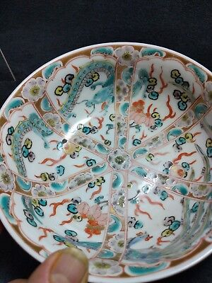 VINTAGE CHINESE  UNIQUE PURE HAND-PAINTED DRAGON BOWL oriental