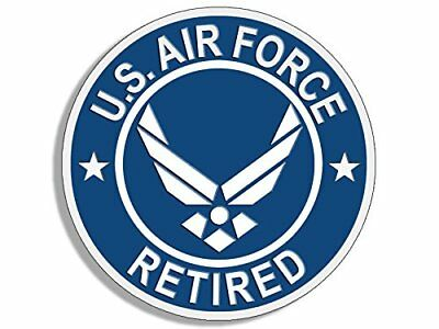 4x4 inch Round U.S. Air Force RETIRED Sticker (USAF Bumper Vet logo wings)