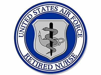 4x4 inch Round US Air Force Retired Nurse Seal Sticker (USAF Logo)