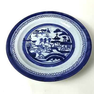 Antique 19th C Chinese Underglaze Blue and White Canton Export Porcelain #129