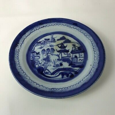 Antique 19th C Chinese Underglaze Blue and White Canton Export Porcelain #131