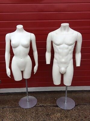 Pair Of Vintage Chest and Waist T-Shirt Manikin, Male And Female, White, Retro