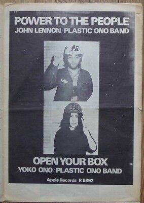 1971 JOHN LENNON ONO Power to the People POSTER Advert 1971