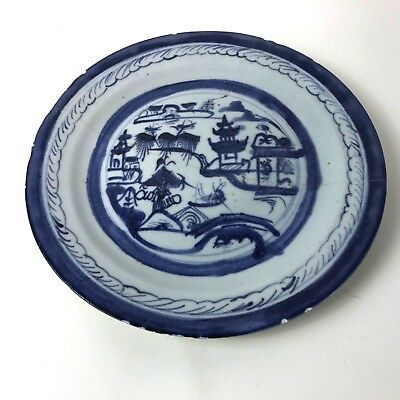 Antique 19th C Chinese Underglaze Blue and White Canton Export Porcelain #134