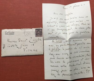 Emile Zola / ALS Autograph Letter Signed dated Feb 1 1887 to his friend