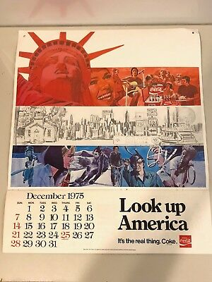 Vintage 1976 Coca-Cola Look Up America Calendar/Poster Lady Liberty 21 Inches