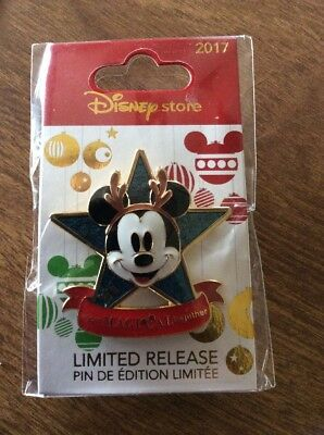 Disney Store Pin Christmas 2017 Mickey Star New In Package Limited Release
