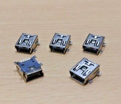 5 PACK - 5 PIN PCB SMT/SMD Mini B USB 2.0 Socket
