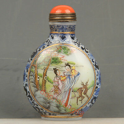 Chinese Exquisite Handmade beauty deer Glass snuff bottle