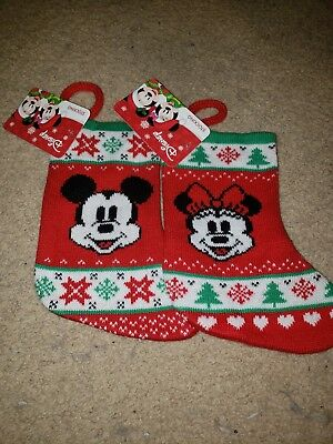 """Set of new Disney Mickey and Minnie Mouse Mini 7.5"""" Christmas Holiday Stockings"""