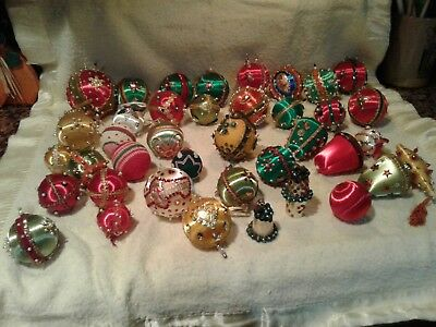 Vintage Handmade Beaded Sequinned Christmas Tree Ornaments Lot Of 39