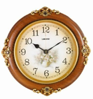 Home decor round walnut mahogany wall clock for home office or Christmas gift