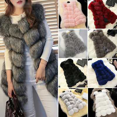 ae5294ab2cb99c Womens Winter Faux Fur Gilet Waistcoat Sleeveless Jacket Coat Vest Outwear  Tops