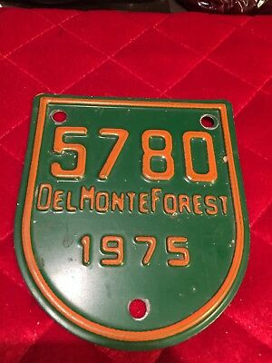 5780 Del Monte Forest 1975 License Plate Small Green & Yellow