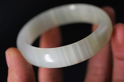 Excellent Chinese natural jade hand Carved 60mm beautiful bracelet bangle   G49