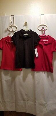 Girls School Uniform Shirts, One New Black And Two Used Red