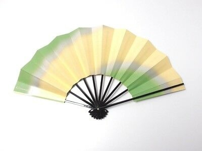 Japanese antique vintage green gold Maisen Ougi Sensu folding fan chacha