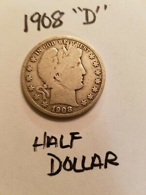 1908 D Barber Half Dollar. Very Good to Fine condition. Good Coin