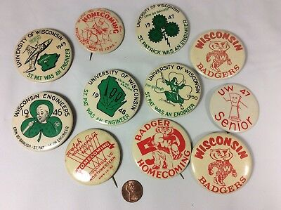 University of Wisconsin UW Badgers pinback buttons lot Buttons Pins Vintage