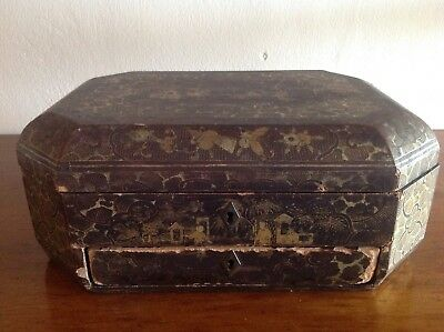 Large  Antique Asian Inlaid Wooden Box
