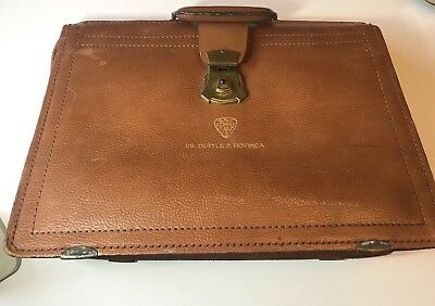 """Leather Vintage Doctors Medical Bag 16"""" by 12"""" Good Condition USED"""