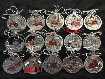 Set 2004 - 2018 Case IH International Harvester Pewter 15 Ornaments Farmall NEW
