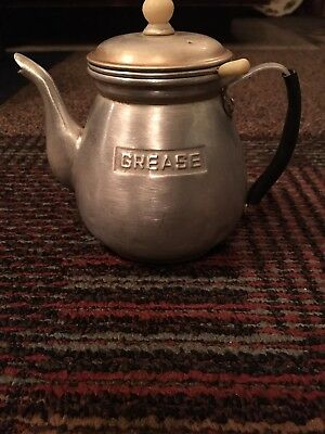 Vintage GREASE Drippings Aluminum Teapot / Pot/Can w/Lid And Strainer