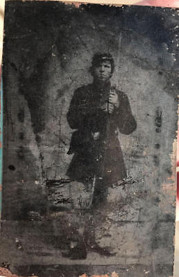 Armed 1/6th Plate Soldier Tintype