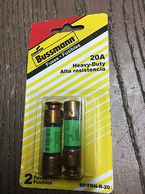 Cooper Bussmann FRN Series 20 Amp Brass Time-Delay Cartridge Fuses (2-Pack)
