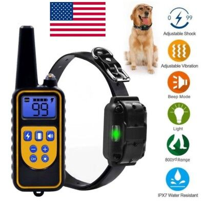 US Pet Dog Waterproof Training Collar Rechargeable Electric Shock LCD Display LN