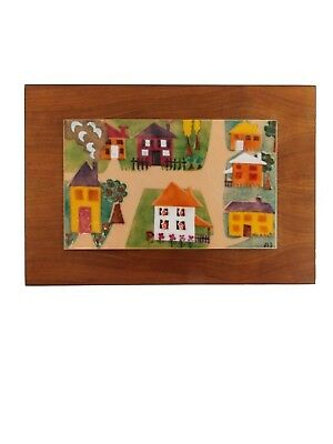 signed Mid Century copper enamel wall art/ vintage 1950s abstract wood enameled