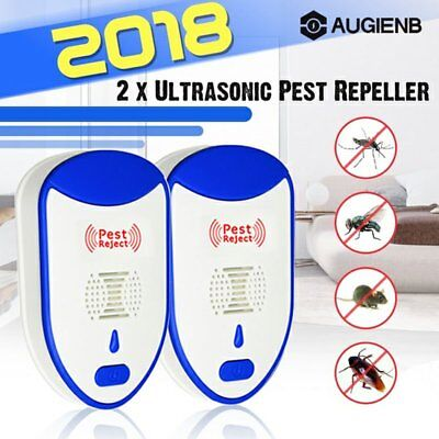 2X Electronic Ultrasonic Pest Reject Mosquito Cockroach Mouse Killer Repeller AU