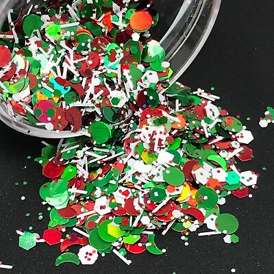 Christmas Glitter Mix Green Red Dot Hex Nail Art Holographic Solvent Resistant