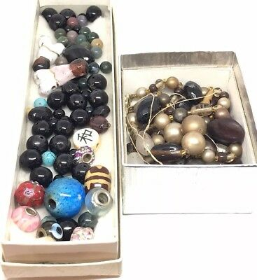 Large Vintage And Antique Lot Of Beads, Glass, Ceramic, Navajo, Enamel, Crystal