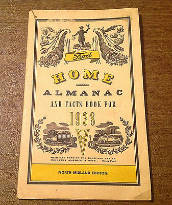Vtg 1938 Ford Motor Co. Home Almanac & Facts Book North-Midland Edition