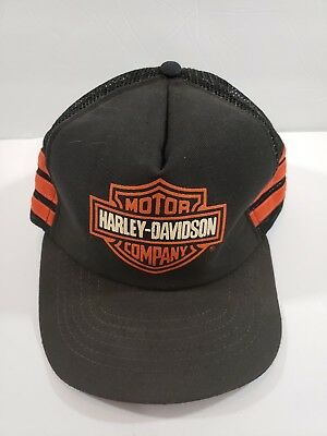 Vintage 1980s Harley-Davidson Three 3 Stripes Snapback Trucker Hat Made in USA