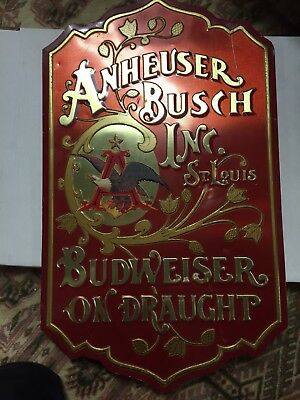 1976 Vintage Anheuser Busch -Budweiser on Draught- Beer Advertising Tin Sign