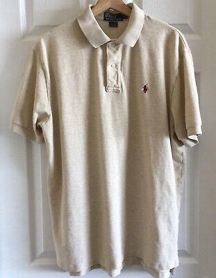 Polo by Ralph Lauren Mens Shirt Sz XL Beige Short Sleeve Collar Golf Cotton