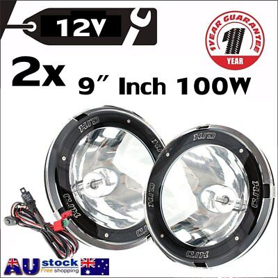 "2x 9"" Inch 12V 100W Hid Driving Lights Xenon Spotlight Offroad SUV Truck Ute OP"