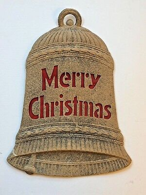 Antique MERRY CHRISTMAS Decoration Paper BELL Vintage LARGE Ephemera GLITTER