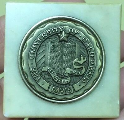 RARE University of California UC Davis Paperweight Marble Base Bronze Medallion